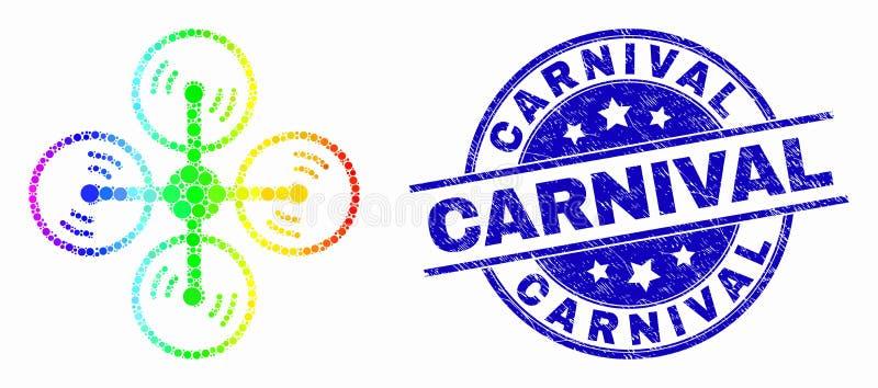 Icono del helicóptero del aire del pixel del espectro del vector y sello rasguñado del carnaval stock de ilustración