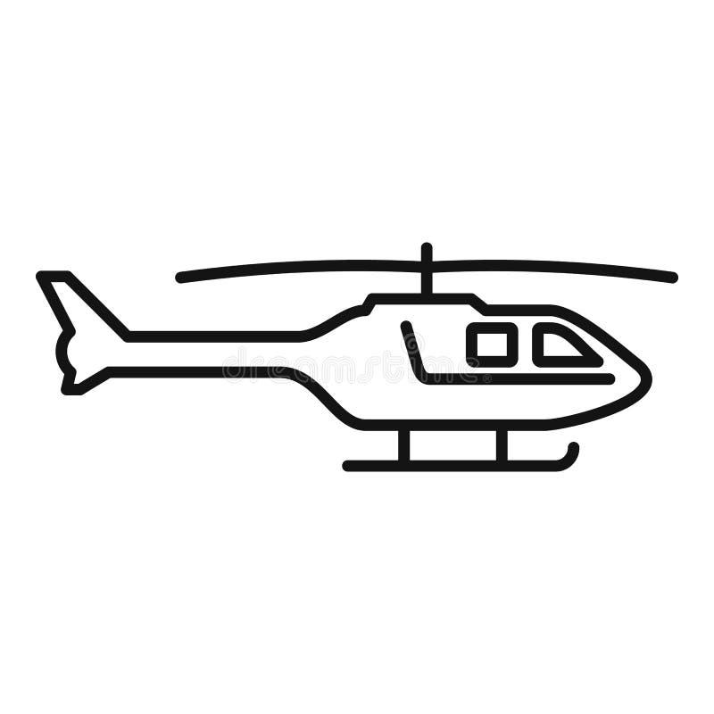 Icono del helicóptero policial, estilo del esquema ilustración del vector