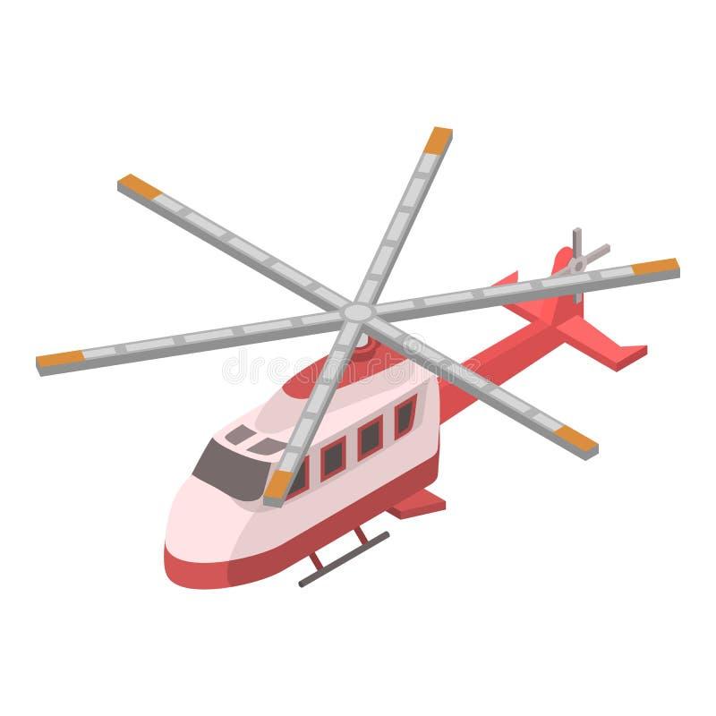 Icono del helicóptero del rescate, estilo isométrico ilustración del vector