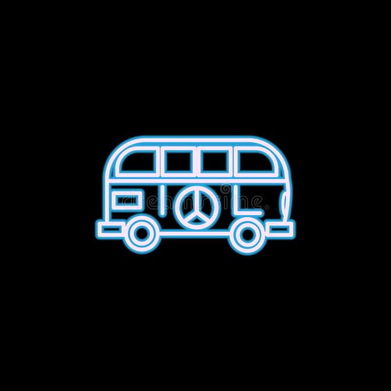 icono del hippie de van style en el estilo de neón Uno del icono de la colección del estilo de vida se puede utilizar para UI, UX stock de ilustración