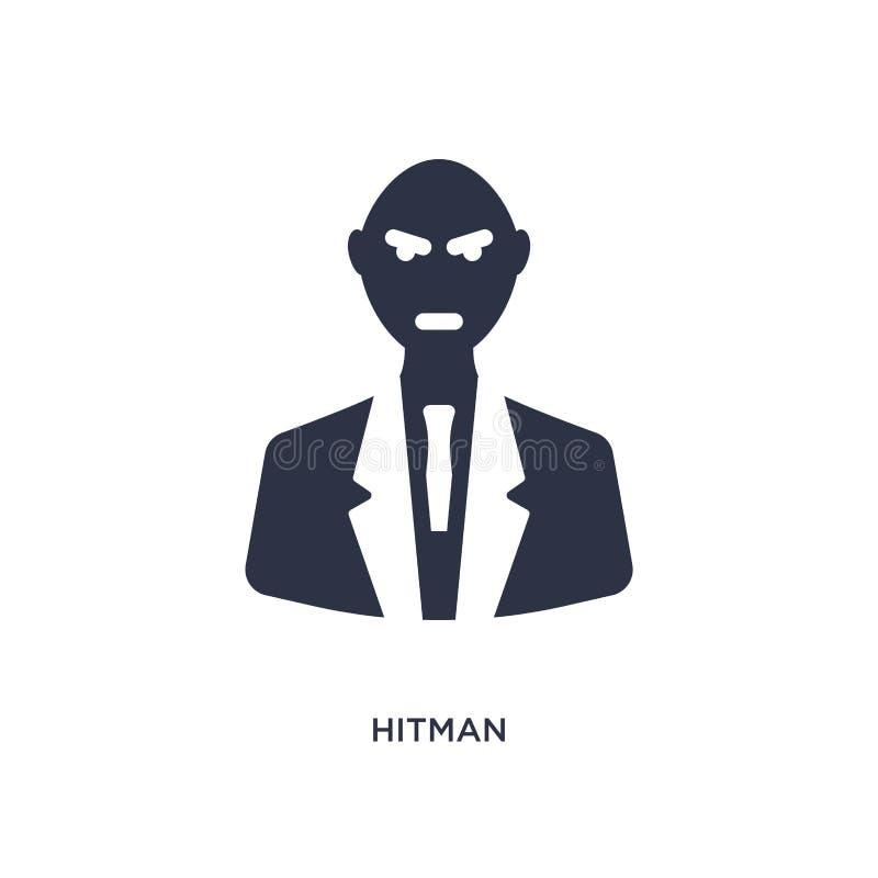 icono del hitman en el fondo blanco Ejemplo simple del elemento del concepto del cine ilustración del vector