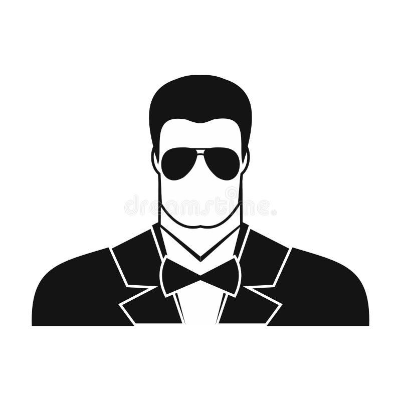 Icono del hombre del agente del escolta stock de ilustración