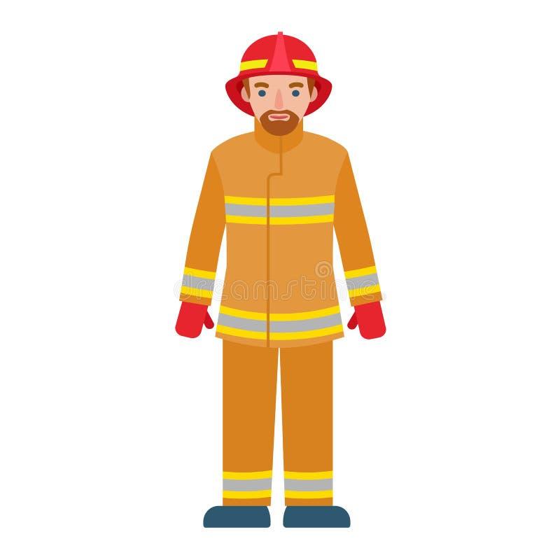 Icono del hombre del bombero, estilo plano ilustración del vector