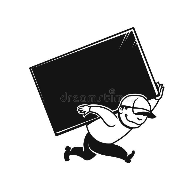 Icono del hombre del cargador para el servicio o la mudanza de entrega ilustración del vector