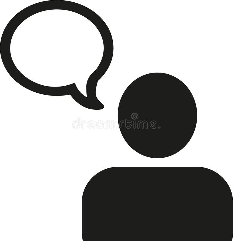 Icono del hombre con la burbuja del discurso stock de ilustración
