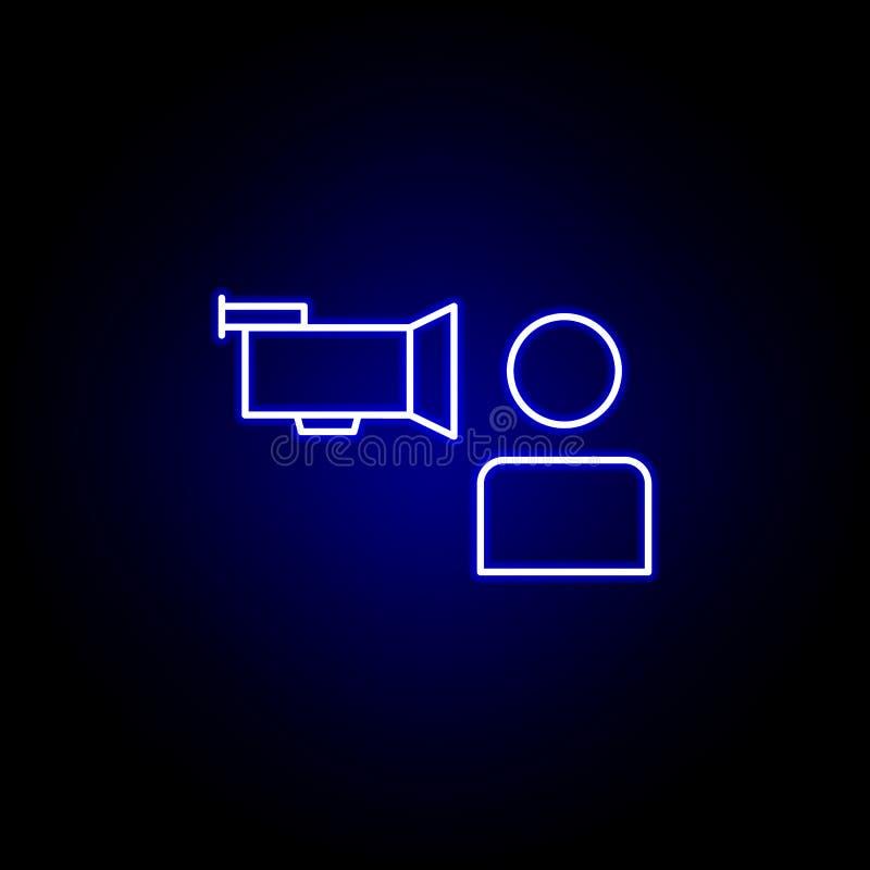 Icono del hombre de la cámara de la entrevista de las elecciones en el estilo de neón Las muestras y los s?mbolos se pueden utili ilustración del vector