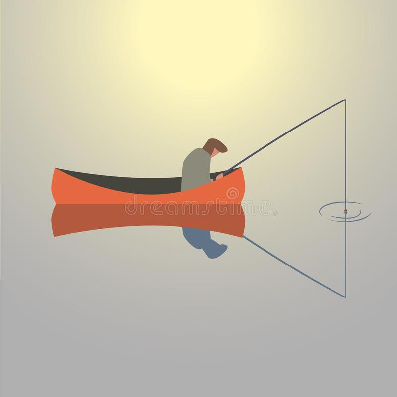 Icono del hombre de la pesca ilustración del vector