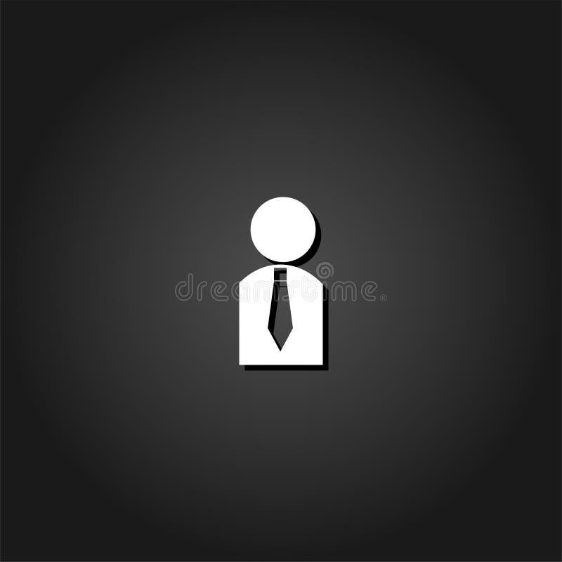 Icono del hombre de negocios plano ilustración del vector