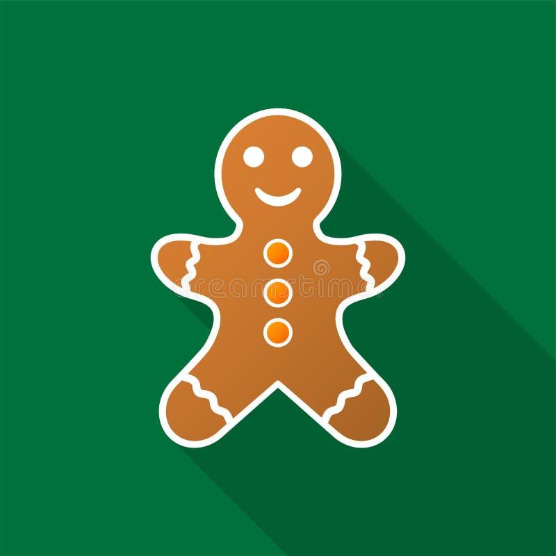 Icono del hombre de pan de jengibre con la sombra larga en fondo verde ilustración del vector