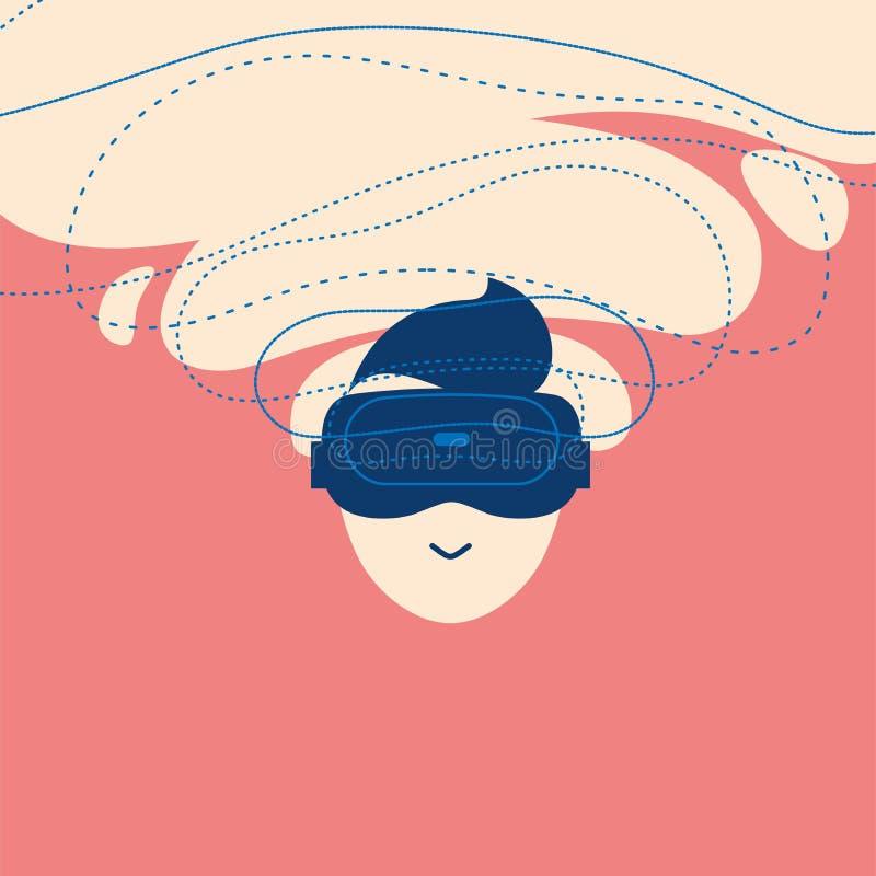 Icono del hombre entusiasta usando los vidrios de la realidad virtual VR, AR, emoji, concepto del ejemplo del stiker libre illustration