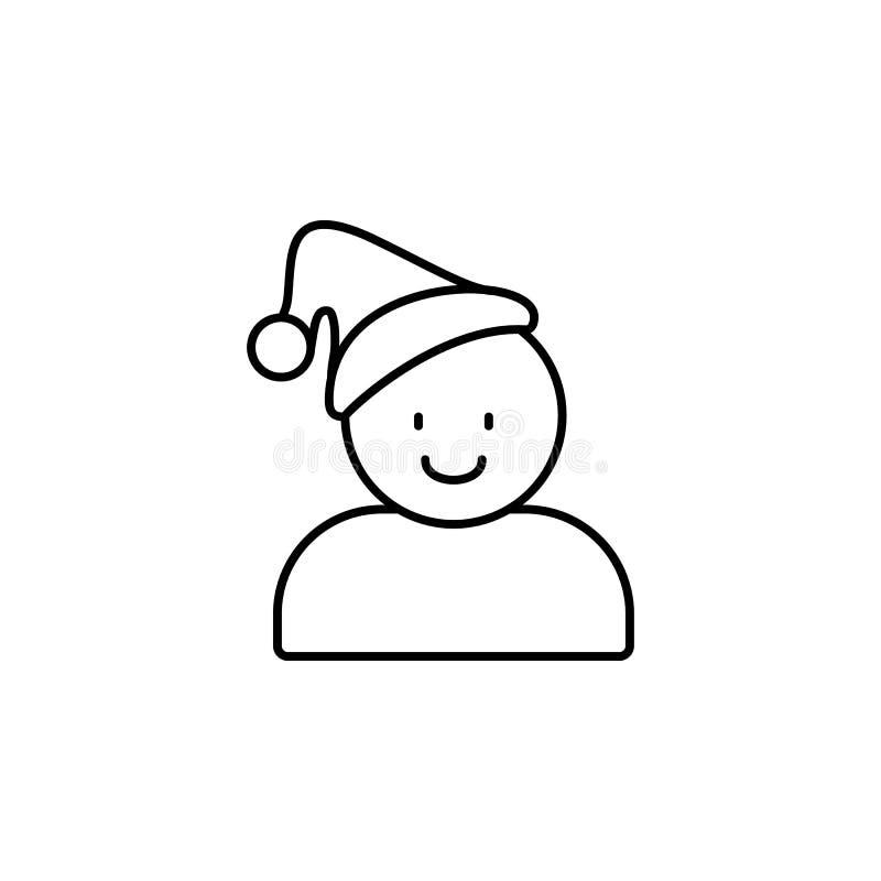 Icono del hombre del sombrero de la Navidad Símbolo de la Navidad y del Año Nuevo línea estilo ilustración del vector