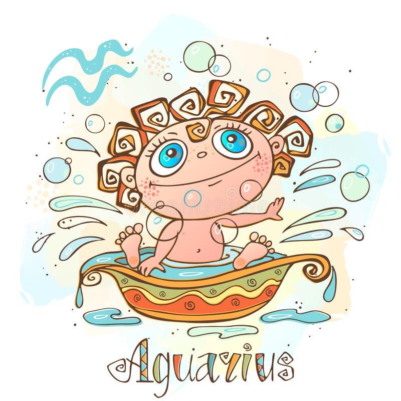 Icono del horóscopo del ` s de los niños Zodiaco para los niños Muestra del acuario Vector Símbolo astrológico como personaje de  ilustración del vector