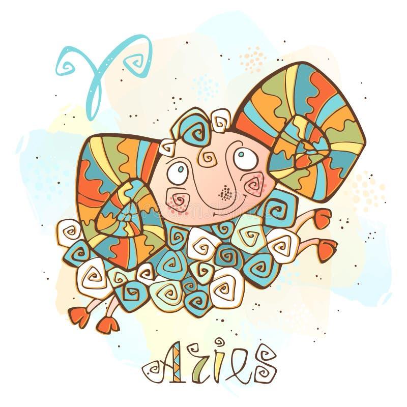 Icono del horóscopo del ` s de los niños Zodiaco para los niños Muestra del aries Vector Símbolo astrológico como personaje de di libre illustration