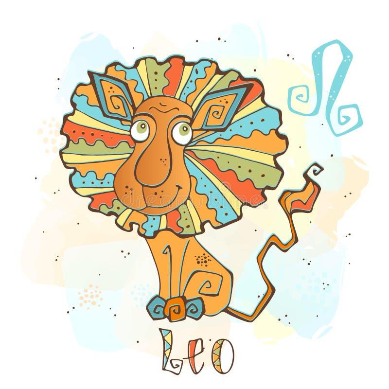 Icono del horóscopo del ` s de los niños Zodiaco para los niños Muestra de Leo Vector Símbolo astrológico como personaje de dibuj ilustración del vector