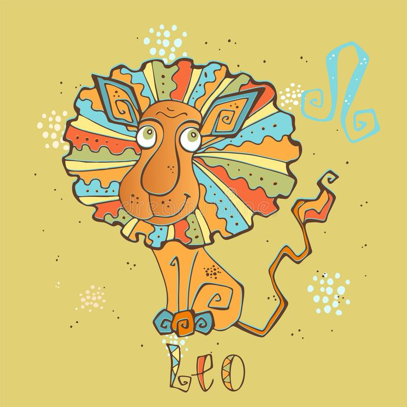 Icono del horóscopo del ` s de los niños Zodiaco para los niños Muestra de Leo Vector Símbolo astrológico como personaje de dibuj stock de ilustración