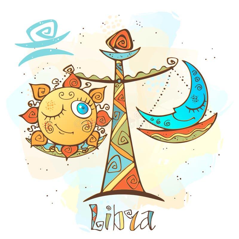 Icono del horóscopo del ` s de los niños Zodiaco para los niños Muestra del libra Vector Símbolo astrológico como personaje de di ilustración del vector