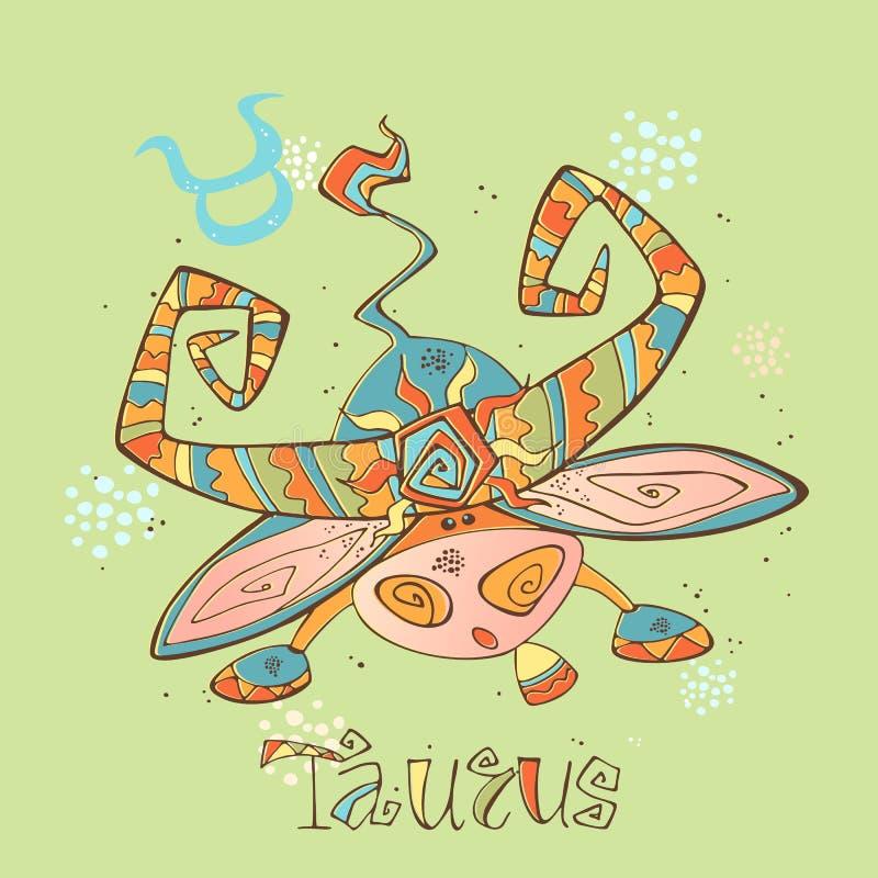 Icono del horóscopo del ` s de los niños Zodiaco para los niños Taurus Sign Vector Símbolo astrológico como personaje de dibujos  stock de ilustración