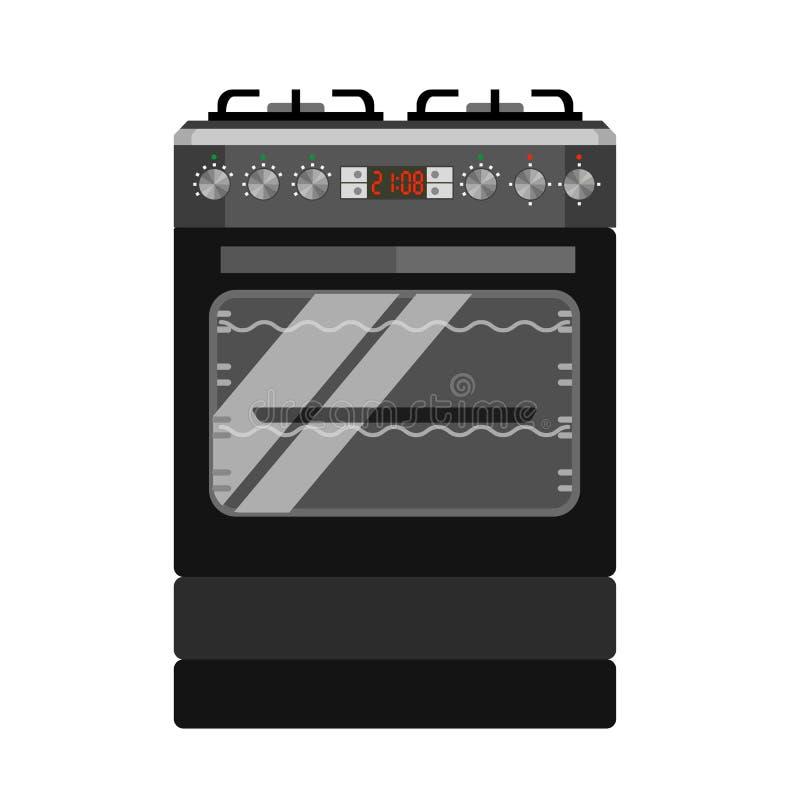 Icono del horno de gas, estilo plano libre illustration