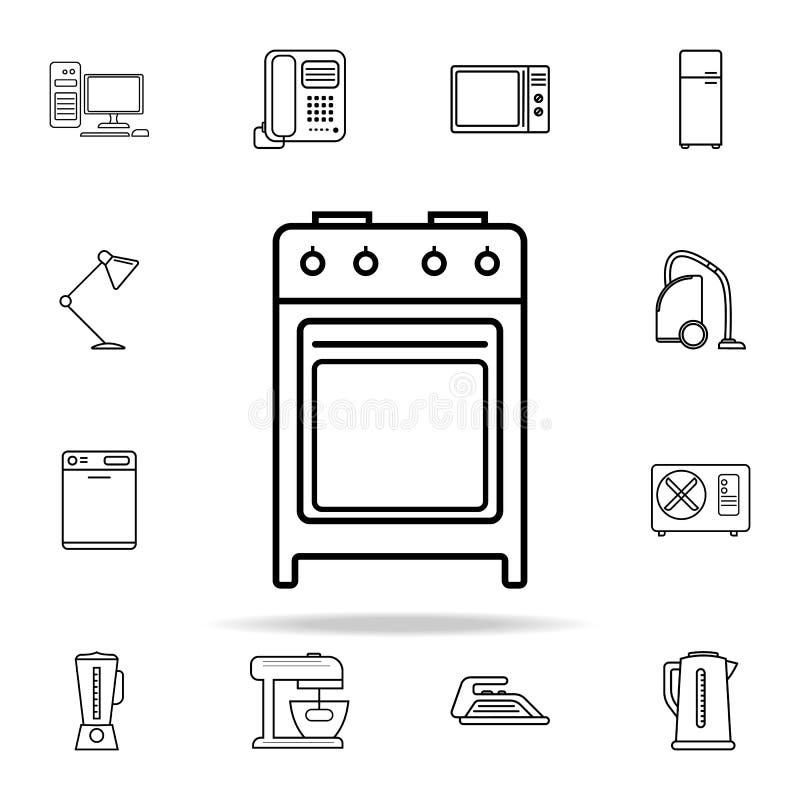 Icono del horno de gas Sistema universal de los iconos de los dispositivos para el web y el móvil ilustración del vector