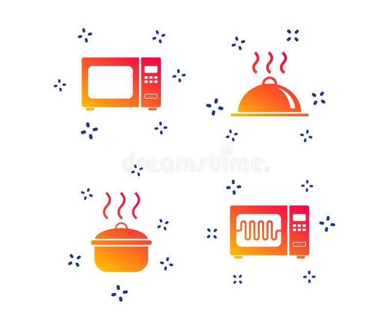 Icono del horno de microondas Cocinar la cacerola, porci?n de la comida Vector libre illustration