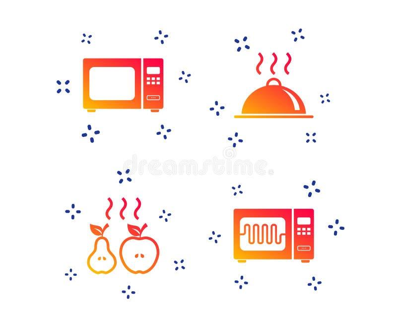Icono del horno de microondas Cocinar la porci?n de la comida Vector ilustración del vector