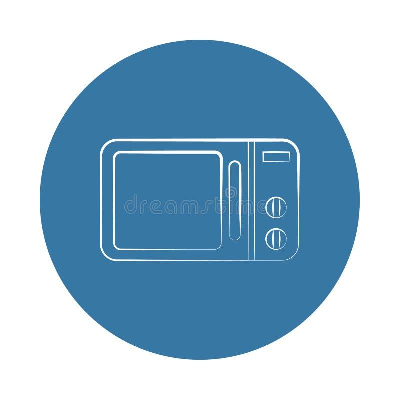 icono del horno de microondas del logotipo Elemento de los electro iconos para los apps móviles del concepto y del web El icono d stock de ilustración