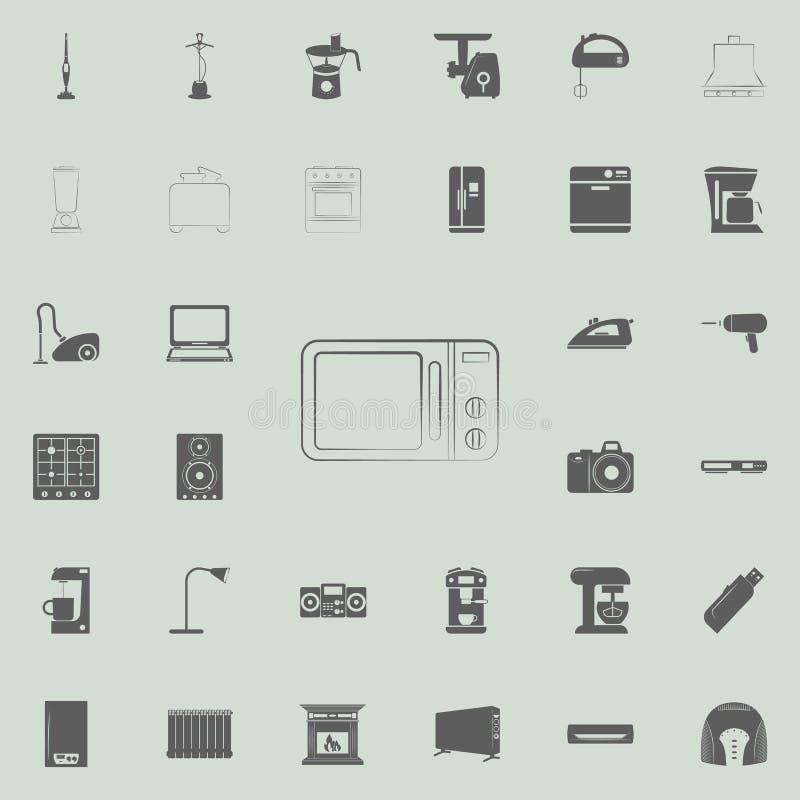 icono del horno de microondas del logotipo Sistema universal de los electro iconos para el web y el móvil stock de ilustración