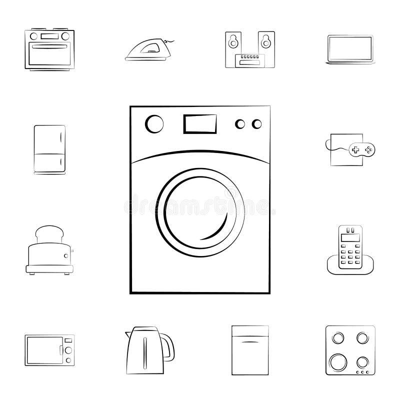 Icono del horno de microondas Sistema detallado de los aparatos electrodomésticos Diseño gráfico superior Uno de los iconos de la stock de ilustración