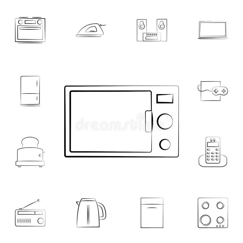 Icono del horno de microondas Sistema detallado de los aparatos electrodomésticos Diseño gráfico superior Uno de los iconos de la libre illustration