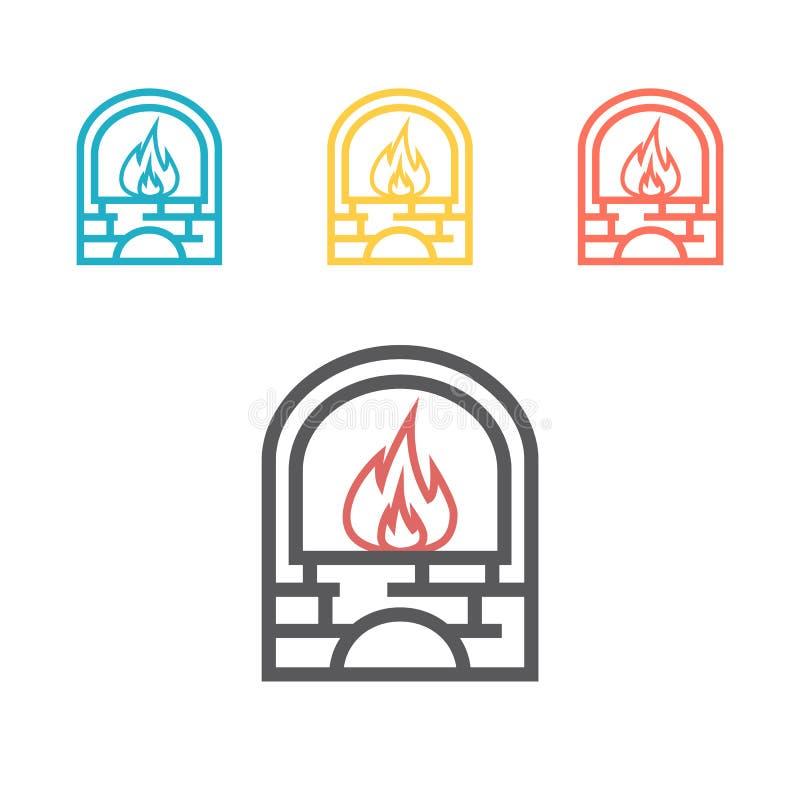Icono del horno del herrero Icono del vector del horno del herrero del esquema para el diseño web aislado en el fondo blanco stock de ilustración