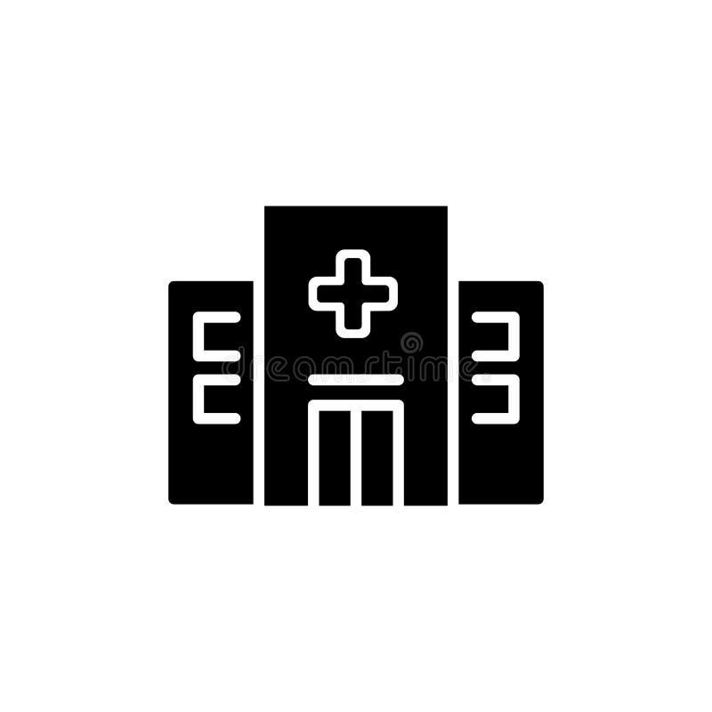 Icono del hospital aislado en el fondo blanco Pictograma plano moderno, negocio, márketing, concepto de Internet foto de archivo libre de regalías