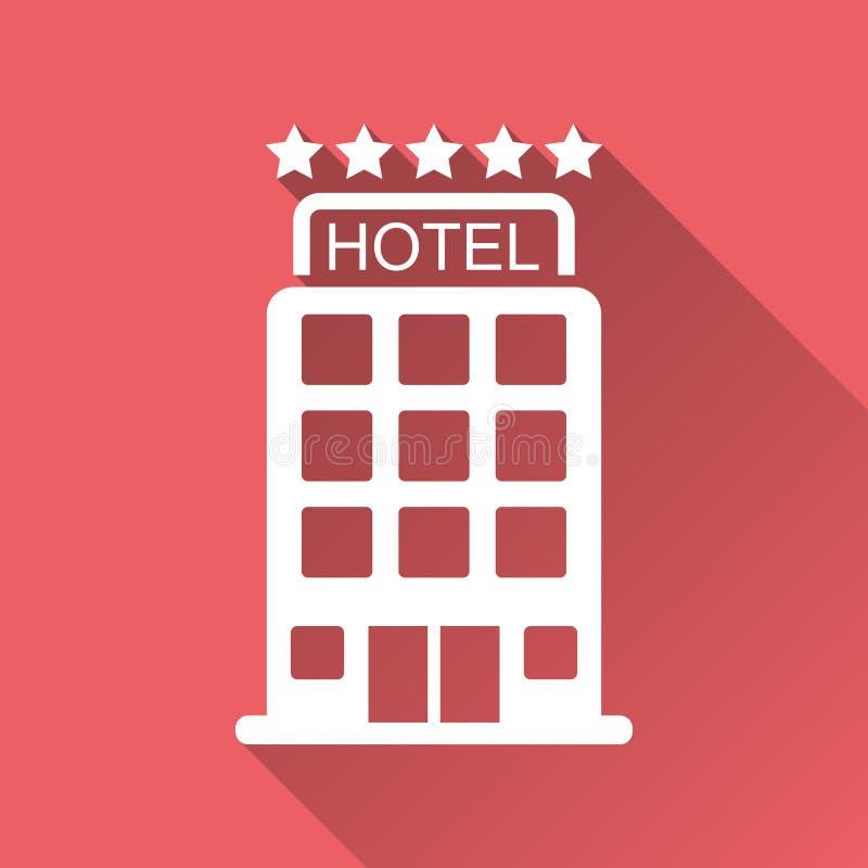 Icono del hotel aislado en fondo rojo con la sombra larga libre illustration
