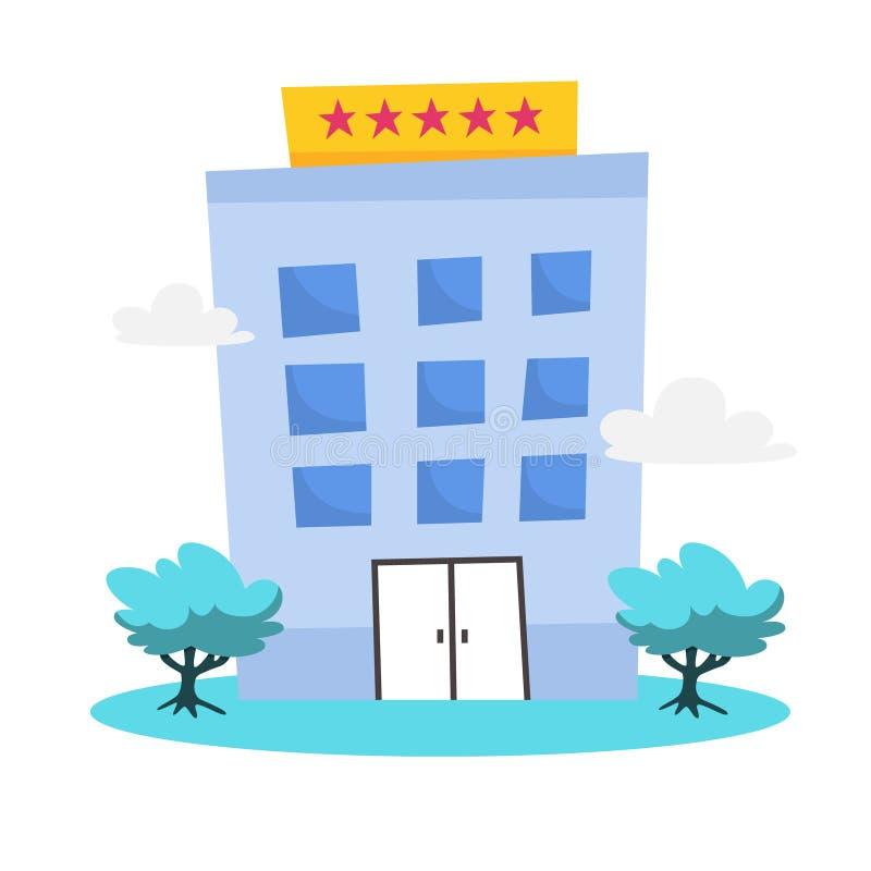 Icono del hotel de cinco estrellas Arquitectura urbana, lugar moderno ilustración del vector