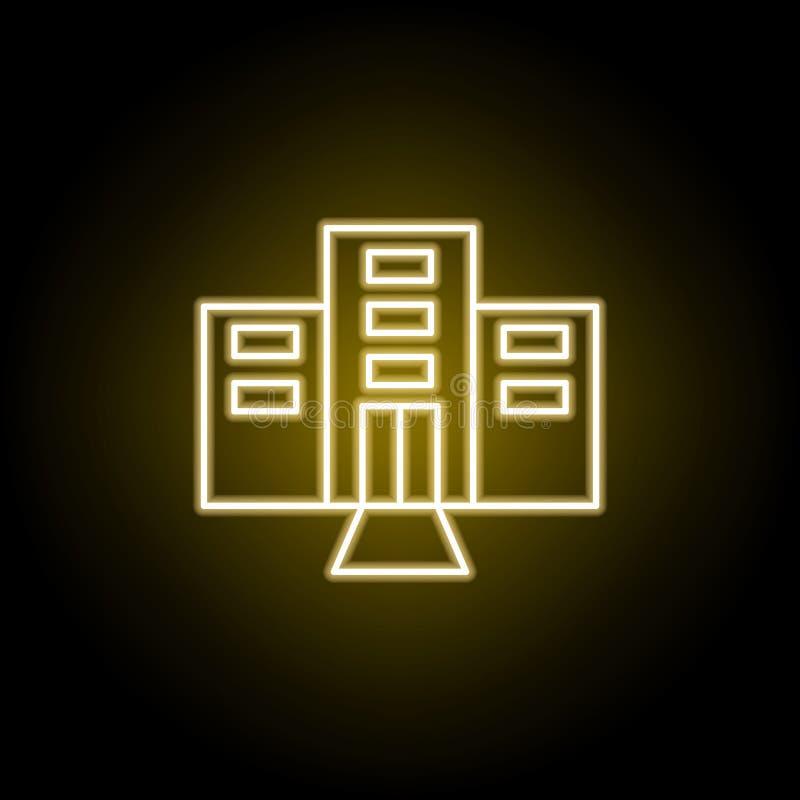 icono del hotel en el estilo de ne?n Elemento del ejemplo del viaje Las muestras y los s?mbolos se pueden utilizar para la web, l stock de ilustración