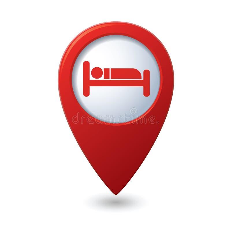 Icono del hotel en el indicador del mapa ilustración del vector