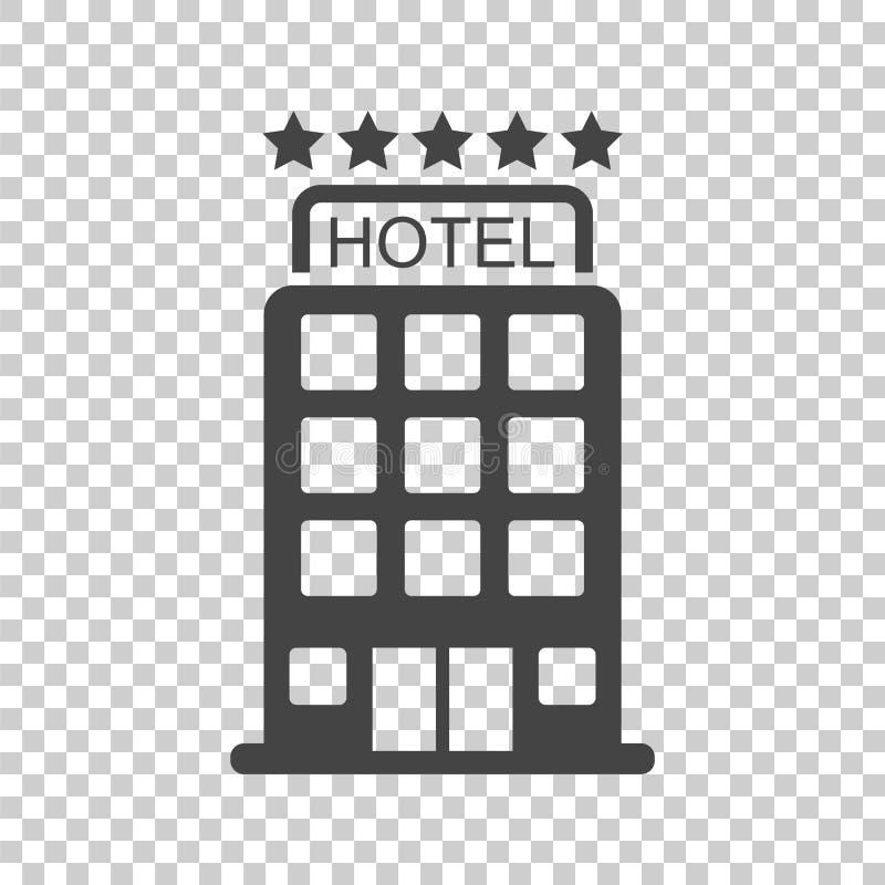 Icono del hotel en fondo aislado Pictograma plano simple para el autobús ilustración del vector