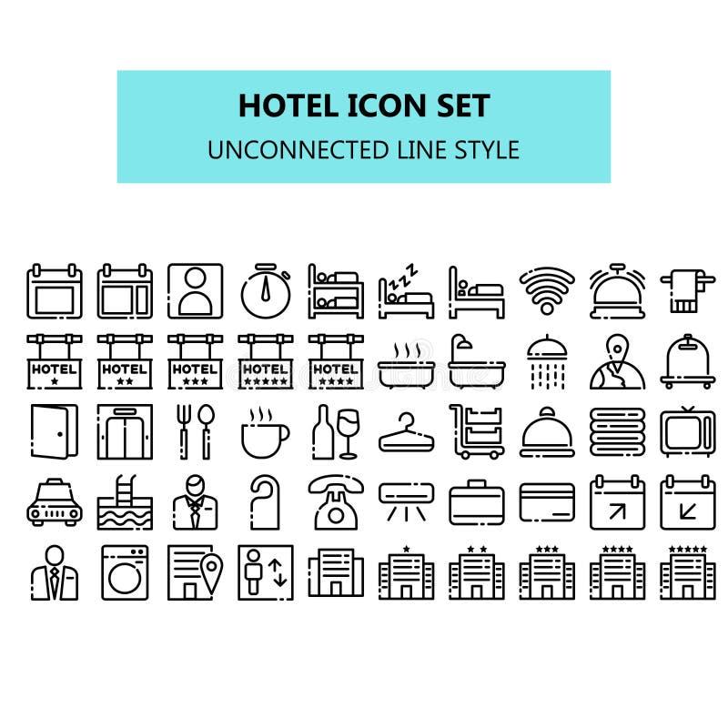 Icono del hotel fijado en pixel perfecto línea no relacionada estilo de los iconos ilustración del vector