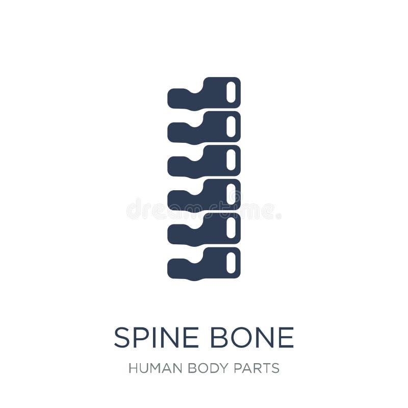 Icono del hueso de la espina dorsal Icono plano de moda del hueso de la espina dorsal del vector en el CCB blanco libre illustration