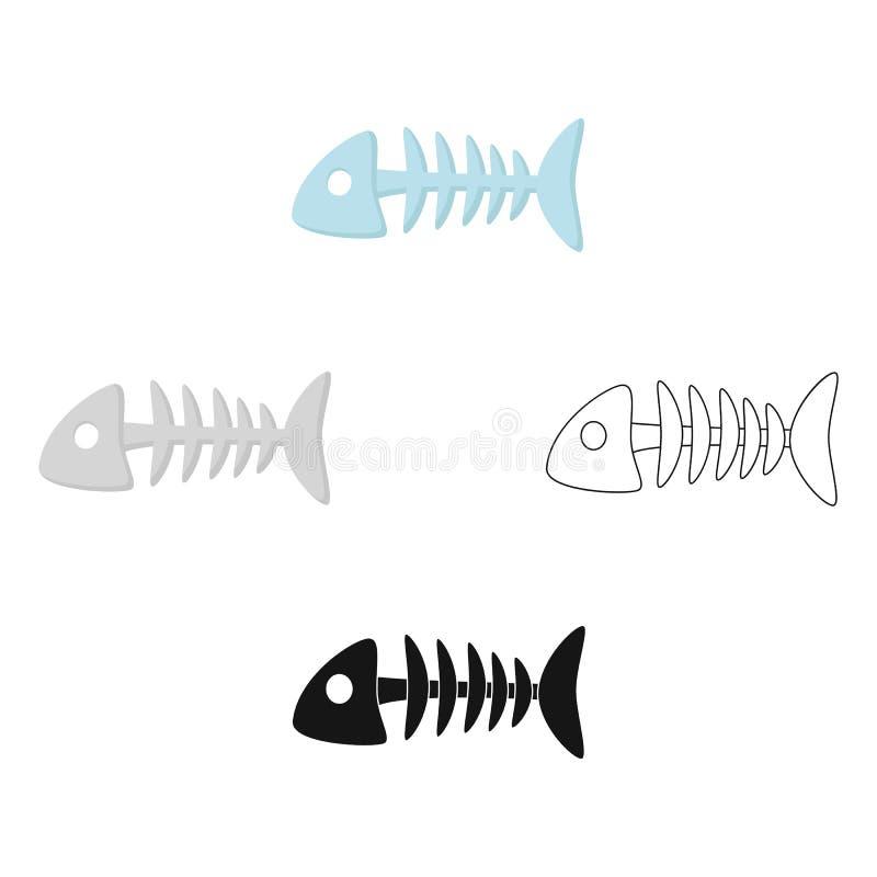 Icono del hueso de pescados en la historieta, estilo negro aislada en el fondo blanco Ejemplo del vector de la acci?n del s?mbolo ilustración del vector