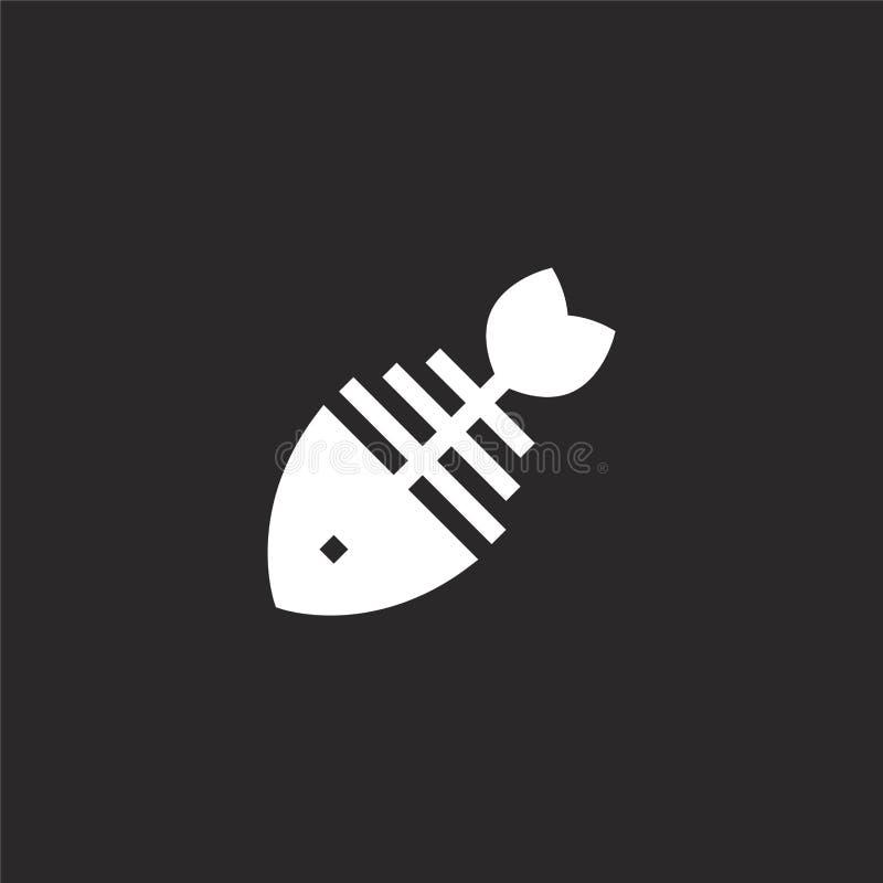 Icono del hueso de pescados Icono llenado del hueso de pescados para el diseño y el móvil, desarrollo de la página web del app ic libre illustration