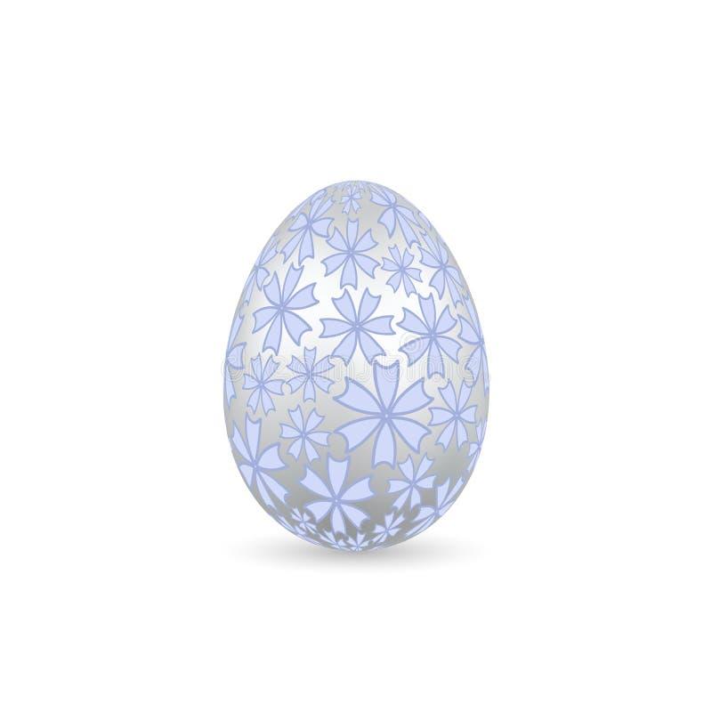 Icono del huevo de Pascua 3D Huevo color plata, fondo blanco aislado Diseño floral en colores pastel, decoración realista Pascua  libre illustration