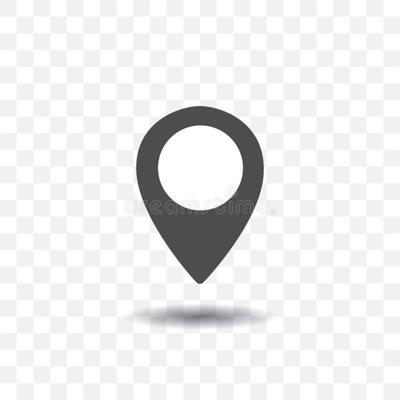 Icono del indicador de la ubicación del mapa en fondo transparente Perno del mapa para la blanco o el destino stock de ilustración