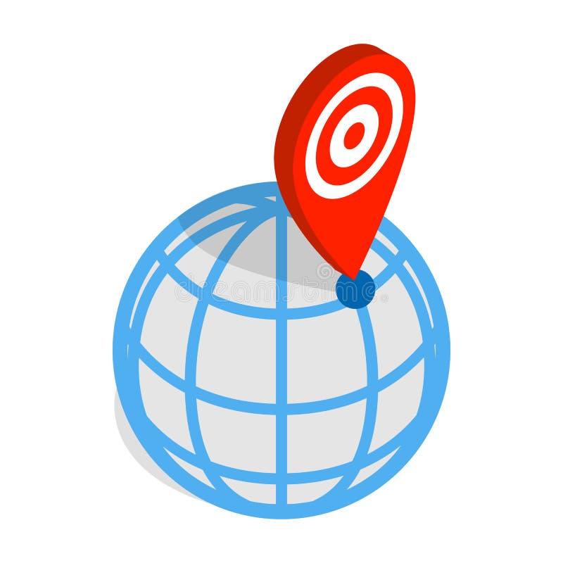 Icono del indicador del globo y del mapa, estilo isométrico 3d ilustración del vector