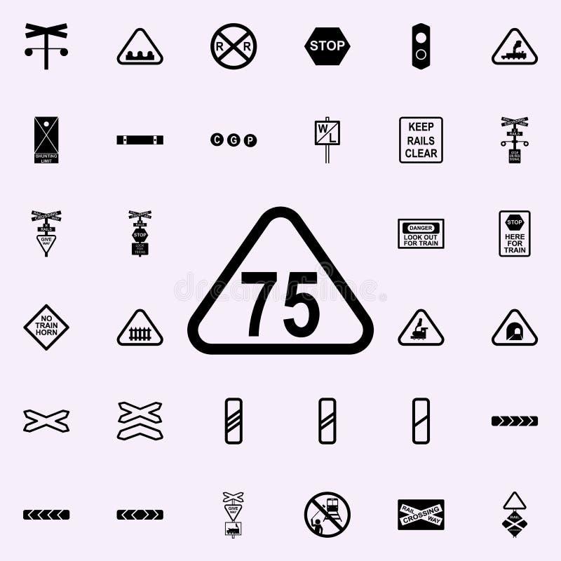 icono del indicador 75 del límite de velocidad Sistema universal de los iconos ferroviarios de las advertencias para el web y el  libre illustration