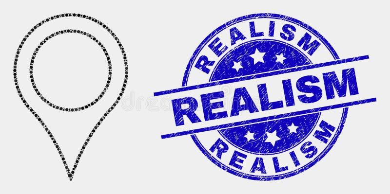 Icono del indicador del mapa de pixel del vector y filigrana del realismo del Grunge ilustración del vector