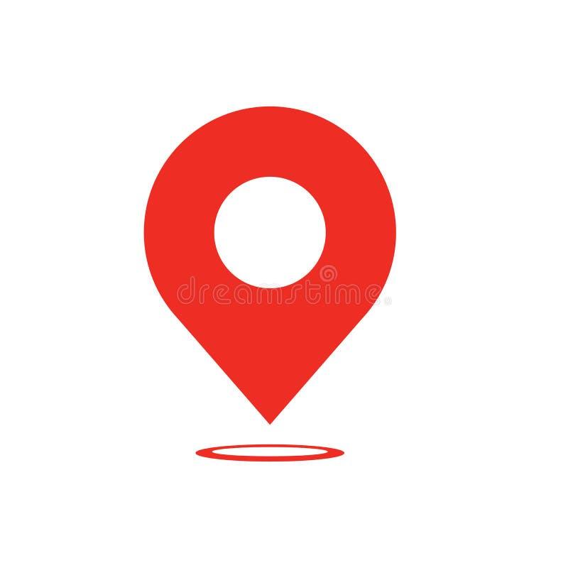 Icono del indicador del mapa - símbolo del navigatiop - icono del perno del mapa - ubicación de los compas - ejemplo plano del ve ilustración del vector
