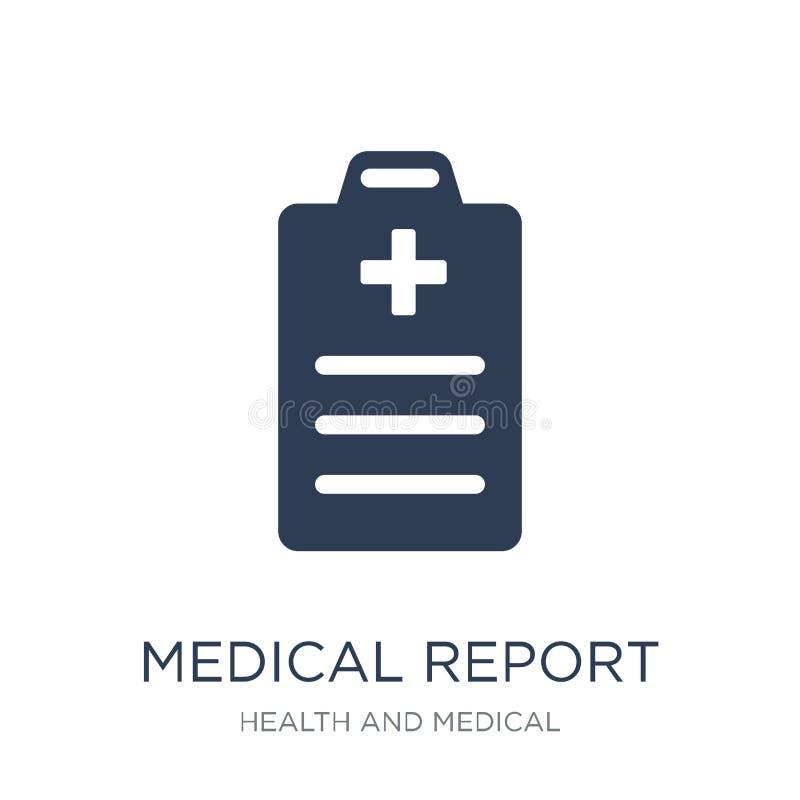 Icono del informe médico Icono plano de moda del informe médico del vector en w ilustración del vector