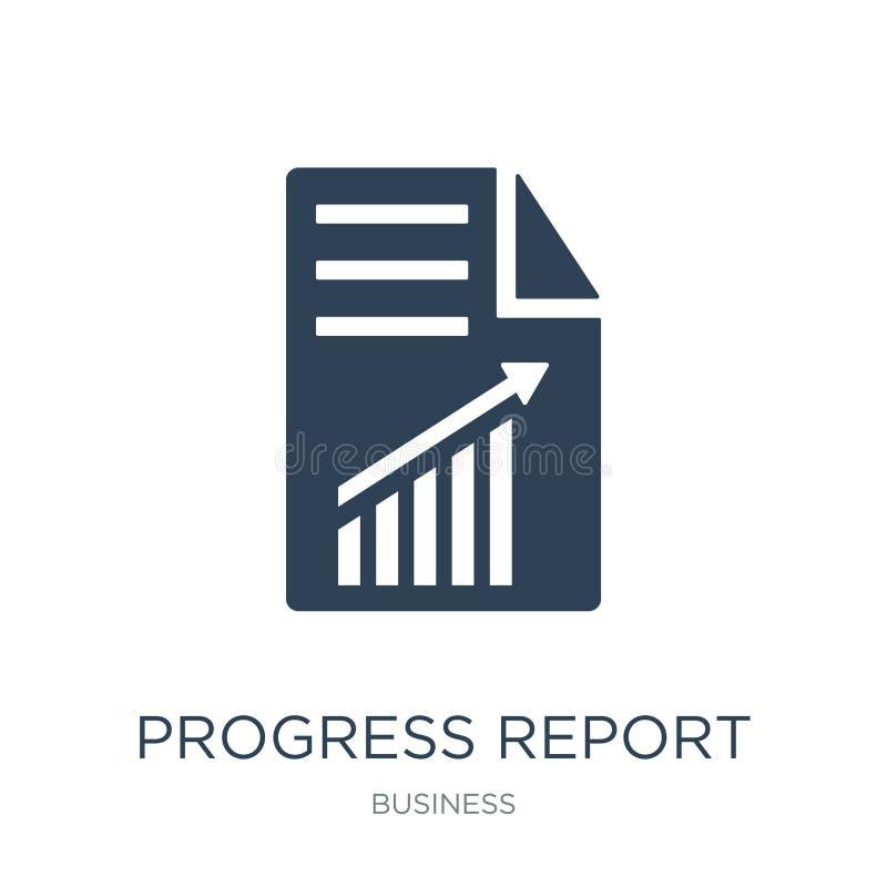 icono del informe sobre los progresos en estilo de moda del diseño icono del informe sobre los progresos aislado en el fondo blan stock de ilustración