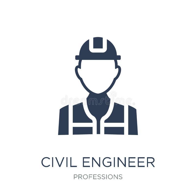 Icono del ingeniero civil Icono plano de moda del ingeniero civil del vector en w libre illustration