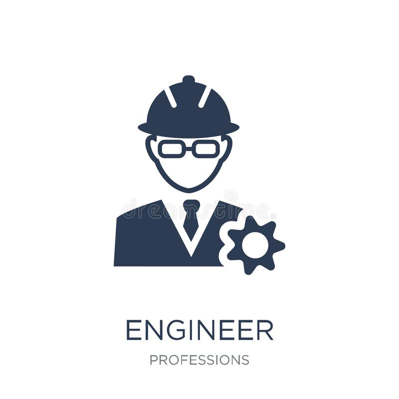 Icono del ingeniero Icono plano de moda del ingeniero del vector en el backgro blanco libre illustration